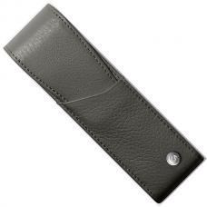 Серый кожаный чехол  для двух ручек Caran d'Ache Leman