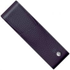 Темно-синий кожаный чехол для двух ручек Caran d'Ache Leman
