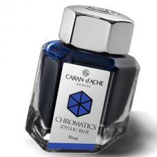 Синие чернила во флаконе Caran d'Ache Chromatics Iddyllic Blue 50мл