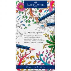 Акварельные карандаши Faber Castell ART GRIP AQUARELLE, набор цветов, в металлической коробке, 12 шт.
