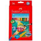 Акварельные карандаши Faber Castell COLOUR PENCILS с кисточкой, набор 36 цветов