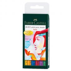 Капиллярные ручки Faber Castell PITT ARTIST PEN набор 6 цветов, основные цвета