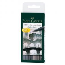 Капиллярные ручки Faber Castell PITT ARTIST PEN, набор 6 цветов, оттенки серого