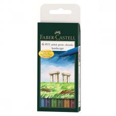 Капиллярные ручки Faber Castell PITT ARTIST PEN, набор 6 цветов, натуральные оттенки