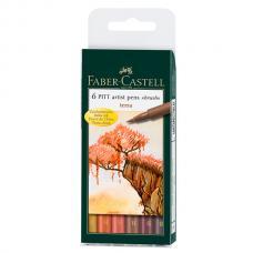 Капиллярные ручки Faber Castell PITT ARTIST PEN, набор 6 цветов, земляные оттенки