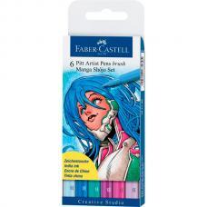 Капиллярные ручки Faber Castell MANGA, набор 6 цветов, в футляре
