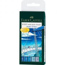 Капиллярные ручки Faber Castell PITT ARTIST PEN, набор 6 цветов, оттенки синего